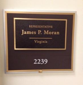 Representative Moran name plaque